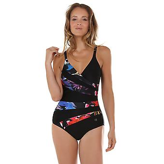 Seaspray 16-2035 Women's Rio Black, Red and Blue Floral Shaping Swimsuit