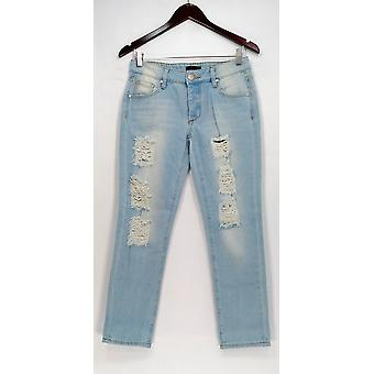 Fire Los Angeles Jeans 25 Slim Leg w/ Pockets & Ribbed Detail Blue