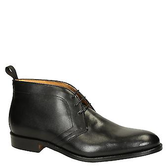 Leonardo Shoes Men's handmade dress lace-ups boots in black calf leather