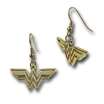 Wonder Woman Symbol Gold Dangle Earrings