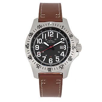 Elevon Aviator Leather-Band Watch w/Date - Brown/Black