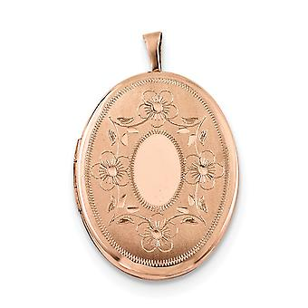 925 Sterling Silber Rose Gold-Flashed 26mm Oval mit Blumen ovalE Medaillon