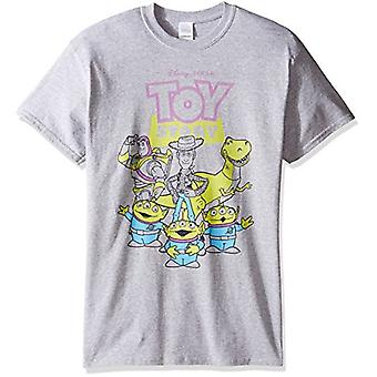 Disney Men's Toy Story Outlined Characters T-Shirt, Sport Grey, 2XL