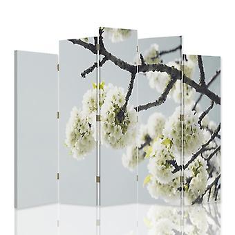 Dekorativa rumsavdelare, 5 paneler, dubbelsidig, 360 ° vridbar canvas, vita blommor på en gren