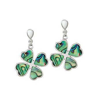 Eternal Collection Lucky Clover Abalone Silver Drop Screw Back Clip On Earrings