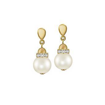 Evige samling Lustro hvid Shell Pearl Gold Tone Drop klip på øreringe