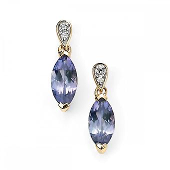 Elements Gold Elements 9ct Yellow Gold Diamond And Tanzanite Marquise Earrings GE2037M