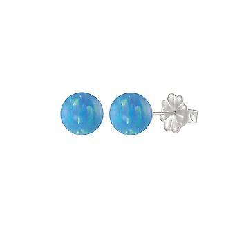 Eternal Collection Solo Light Blue Opal Sterling Silver Stud Pierced Earrings (MM)