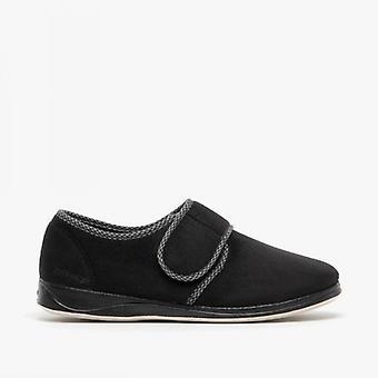 Padders Harry Mens Microsuede Wide (g Fit) Full Slippers Noir
