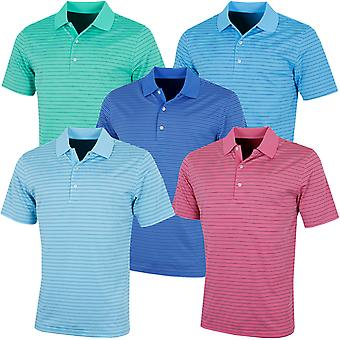 Greg Norman Mens Golf KX65 Bold Stripe Wicking UV Protect Polo Shirt