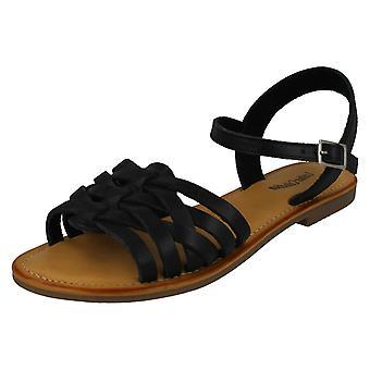 Damer läder kollektion Flat strappy sandaler F00200