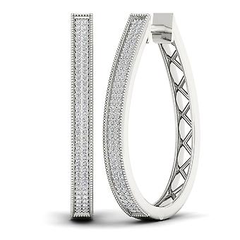 IGI Certified Natural 10k White Gold 0.50 Ct Round Cut Diamond Hoop Earrings