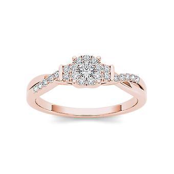 Igi gecertificeerd 10k roségoud 0,25 ct diamant twist shank cluster verlovingsring