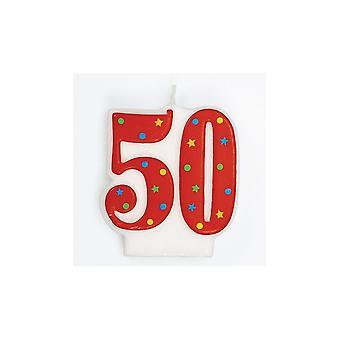 Culpitt Red Multi '50' Candle
