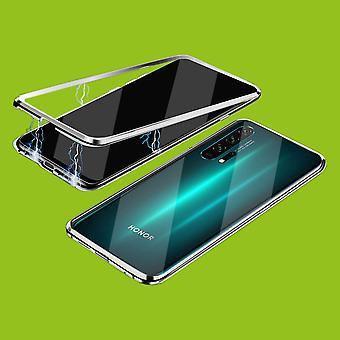 Dubbelzijdige 360 graden magneet / glazen koffer telefoon geval Bumper Zilver voor Huawei Honor 20 / Nova 5T / Honor 20 Pro