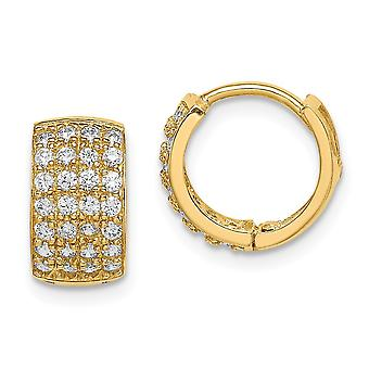 14k Madi K CZ Cubic Zirconia Simulerad Diamond Gångjärn Hoop Örhängen Smycken Gåvor för kvinnor