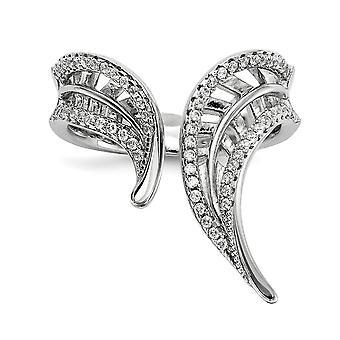 925 Sterling Silber Rhodium vergoldet CZ Zirkonia simuliert Diamant verstellbare Blatt Ring Schmuck Geschenke für Frauen