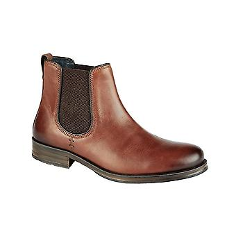 Roamers Conker Brown Leather Twin Gusset Ankle Boot Textile Lining Padded Microfibre Sock Tpr Sole