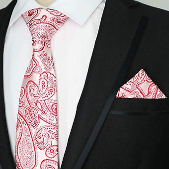 Red & pink paisley pattern neckie & pocket square set
