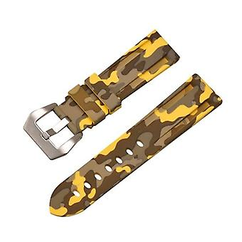 Rubber watch strap yellow camouflage with stainless buckle size 20mm to 24mm