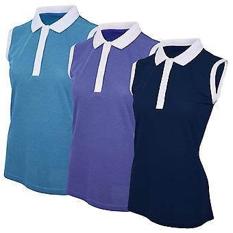 Island Green Womens 2020 Sleeveless Deep Placket Golf Polo Shirt