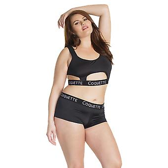 Womens Plus Size Microfiber Black Bralette and Boyshort Booty Short Bra Panty Set