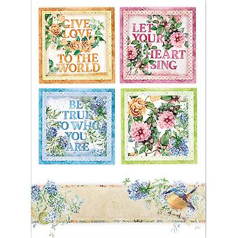 Stamperia Rice Paper A4 Flowers For You Cards