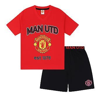 Manchester United FC Official Football Gift Mens Short Pyjamas Loungewear