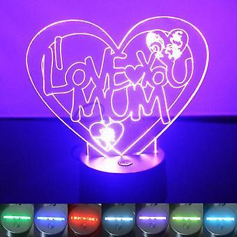 Jeg elsker deg mamma hjerte farge skiftende LED akryl lys