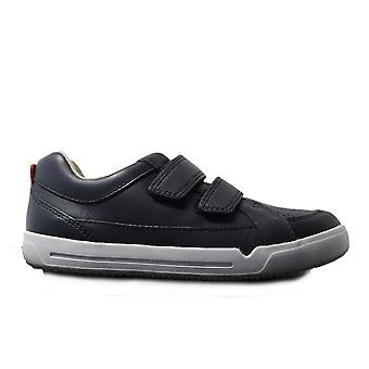 Clarks Emery Walk Infant Navy Leather Boys Rip Tape Casual Trainer Shoes