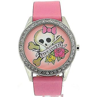 Pink cookie doamnelor-fete analog Pink Dial & PU curea Watch PCL-0011