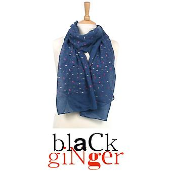 'Black Ginger' Navy Blue Scarf with Umbrellas and Rain Drop Design ( 7