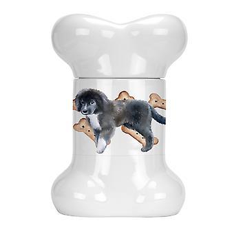 Carolines Treasures  CK2279BSTJ Newfoundland Puppy Bone Shaped Treat Jar