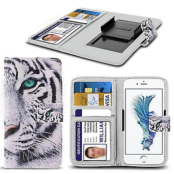 i-Tronixs Acer Liquid M330 Case PU Leather White Tiger Printed Design Pattern Wallet Clamp Style Spring Skin Cover- White Tiger