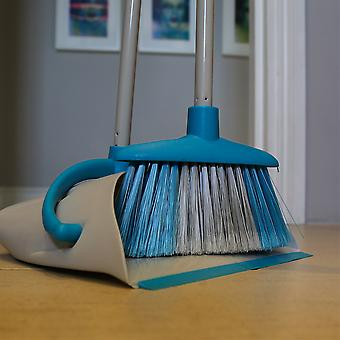 Charles Bentley Brights Indoor Long Handled Lobby Dustpan and Brush Set - Bleu