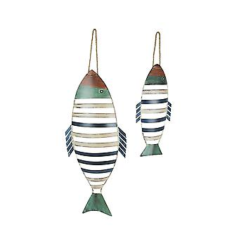 Set of 2 Colorful Striped Metal Fish Decorative Hanging Wall Plaques