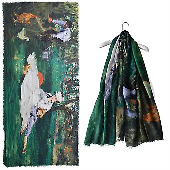 Monet On the Grass Painting Print Scarf