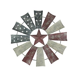 Red White and Blue Stars and Stripes Metal Windmill Wall Hanging 21 Inch