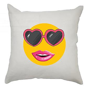 Emoji Cushion Cover 40cm x 40cm Heart Glasses