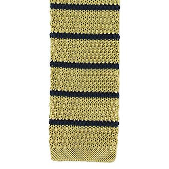 Michelsons of London Silk Knitted Striped Skinny Tie - Yellow/Navy