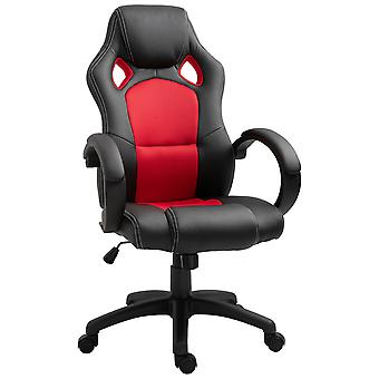HOMCOM Racing Office Chair PU Leather Executive Desk Chair Gaming Swivel Adjustable Computer Chair (Black & red)