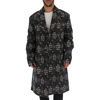 Dries Van Noten 202128332901 Men's Grey Wool Coat