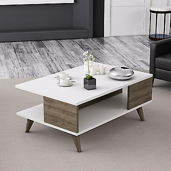 Salontafel' Lyon Kleur Wit, Walnut in Melaminic Chip 90x60x39 cm