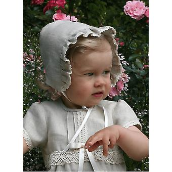 Christening Bonnet In Natural Linen From Grace Of Sweden
