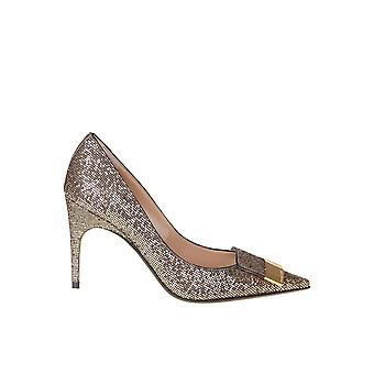 Sergio Rossi A78953mtel277070 Women's Gold Fabric Pumps