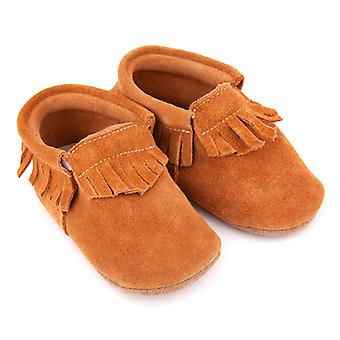 SKEANIE Leather Pre-walker Moccasin Shoes in Tan