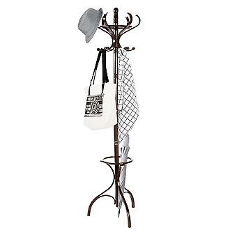 Floor Standing Hat Coat Scarf Stand Hanger W/ 12 Hooks Umbrella Stand Hall Tree Rack for Hallway Bedroom Home Office