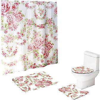 YANGFAN Pink Rose 4-Pcs Bathroom Mat Shower Curtain