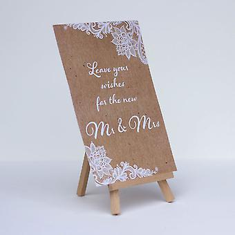 Leave Your Wishes Rustic Wedding Sign Brown with White Lace design and Easel