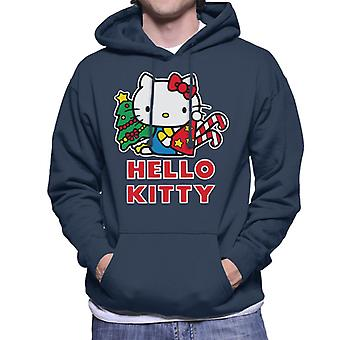 Hello Kitty Festive Star Christmas Hat Men's Hooded Sweatshirt
